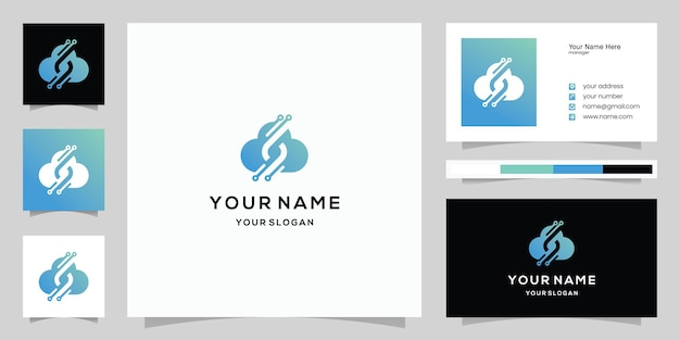 Letter s and cloud technology, cloud data, logo and business card template
