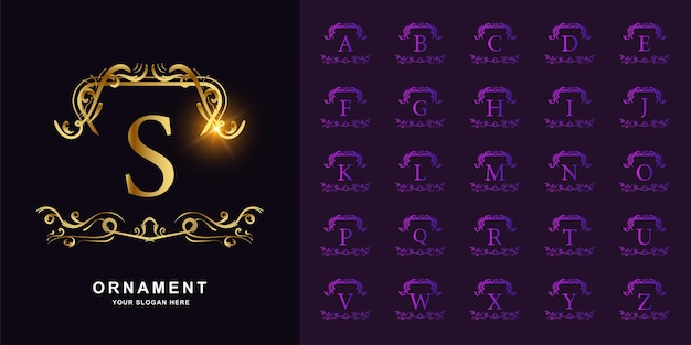 Letter s or collection initial alphabet with luxury ornament floral frame golden logo template.