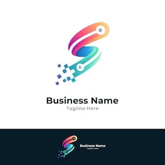 Letter s digital technology logo