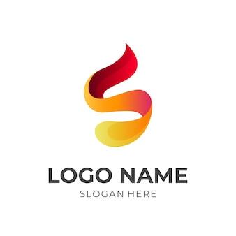 文字sの火のロゴ、文字sと火、3d黄色とオレンジ色のスタイルの組み合わせのロゴ