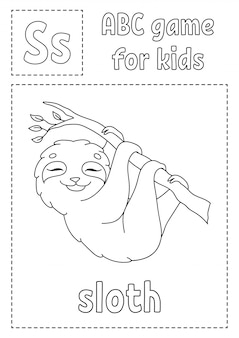 Letter s is for sloth. abc game for kids. alphabet coloring page.