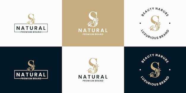 Letter s logo design combination floral foliage frame collections