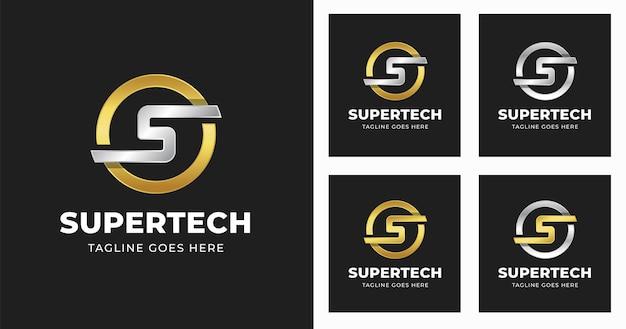 원형 모양 스타일 문자 s 로고 디자인 서식 파일