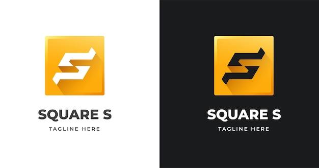 사각형 모양 스타일의 문자 s 로고 디자인 서식 파일