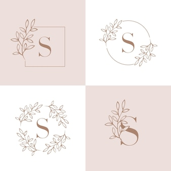Letter s logo design with orchid leaf element