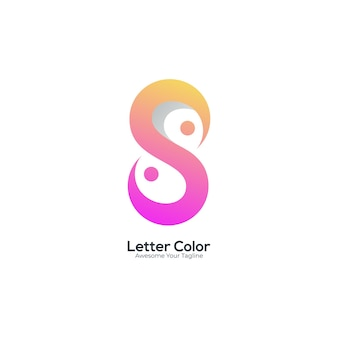 편지 s 로고 그라데이션 색상 현대적인 스타일