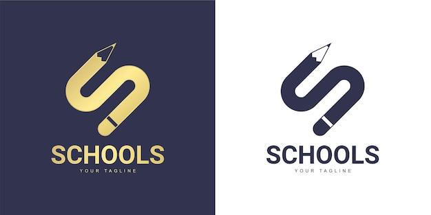 The letter s logo has a education concept