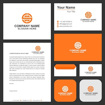 Letter s logo icon design template elements and business card