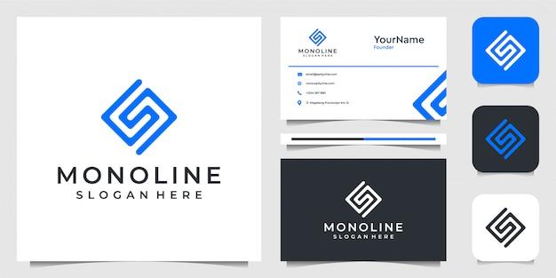 Буква s логотип в стиле арт линии. костюм для бренда, рекламы, бизнеса, компании и визитной карточки