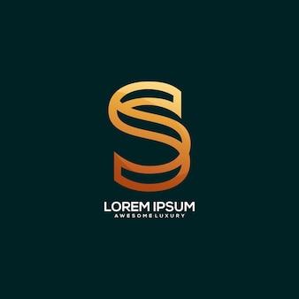 Letter s logo luxury gold color illustration