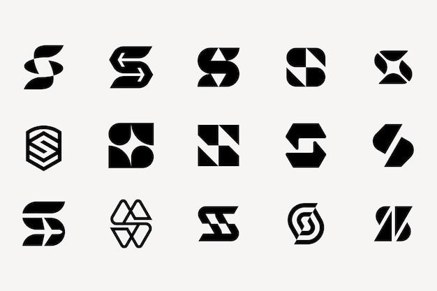 Буква s логотип набор шаблонов