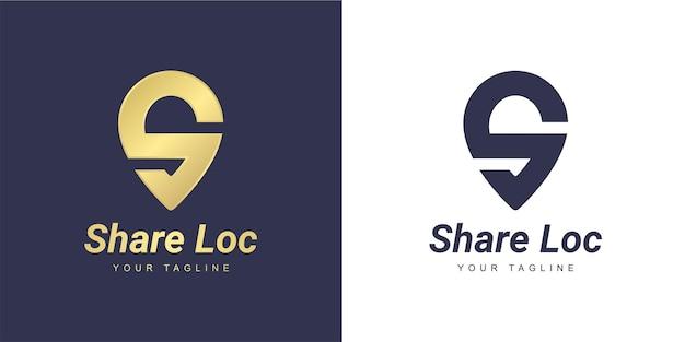 ミニマリストの場所と場所のコンセプトを持つ手紙のロゴ