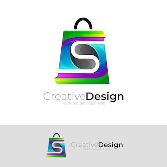 カラフルなバッグsoppingアイコンと文字sロゴ