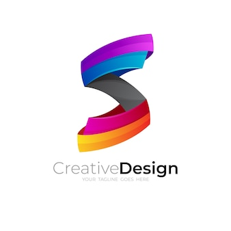 Letter s logo with colorful style, modern icon vector