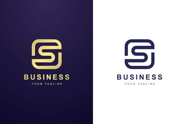 ダブルアウトラインコンセプトの文字sロゴ