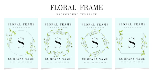 Letter s logo with floral frame background template
