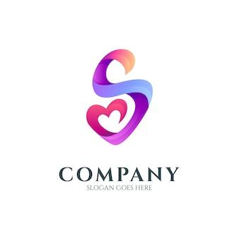 하트 또는 사랑 모양이 있는 문자 s 로고