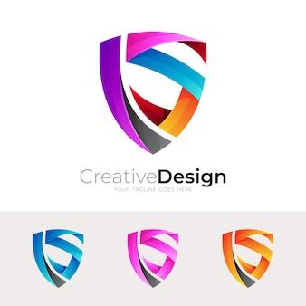 Буква s логотип с шаблоном дизайна щита, 3d красочный