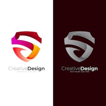 シールド付きの文字sロゴ、モダンなロゴとシンプルなアイコン