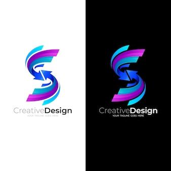 Letter s logo with swoosh design illustration