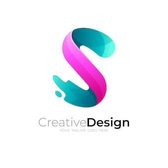スウッシュデザインテンプレート、sアイコンと文字sロゴ