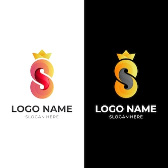 Letter s luxury logo, letter s and crown, combination logo with 3d red and gold color style