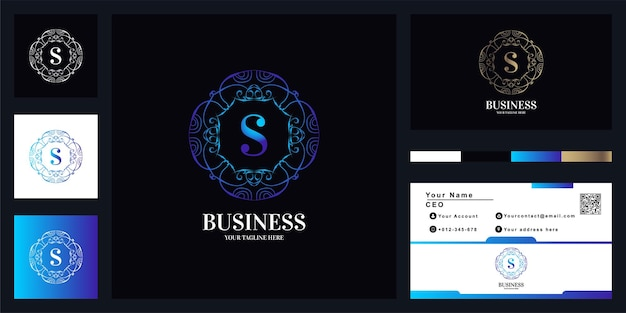 Letter s luxury ornament flower frame logo template design with business card.