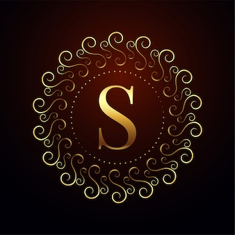 Letter s luxury royal golden logo