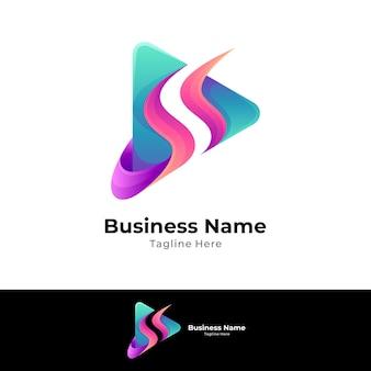 Letter s media play logo