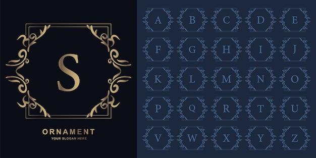 文字sまたは豪華な飾り花フレームゴールデンロゴテンプレートとコレクションの最初のアルファベット。
