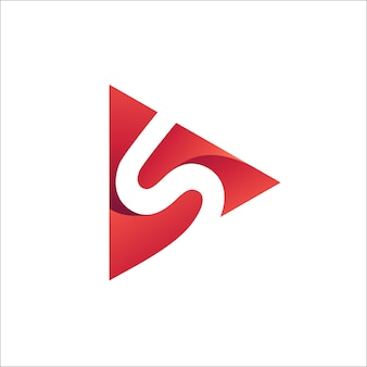 Letter s play logo vector