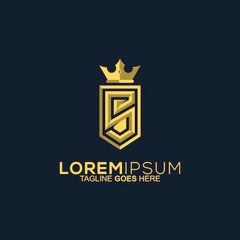 Letter s shield gold logo design
