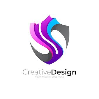 Letter s shield logo, 3d colorful