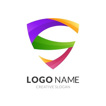 Letter s and shield logo concept, modern  logo style in gradient vibrant colors