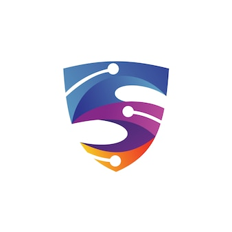 Letter s shield tech logo