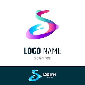 Шаблон логотипа splat буква s
