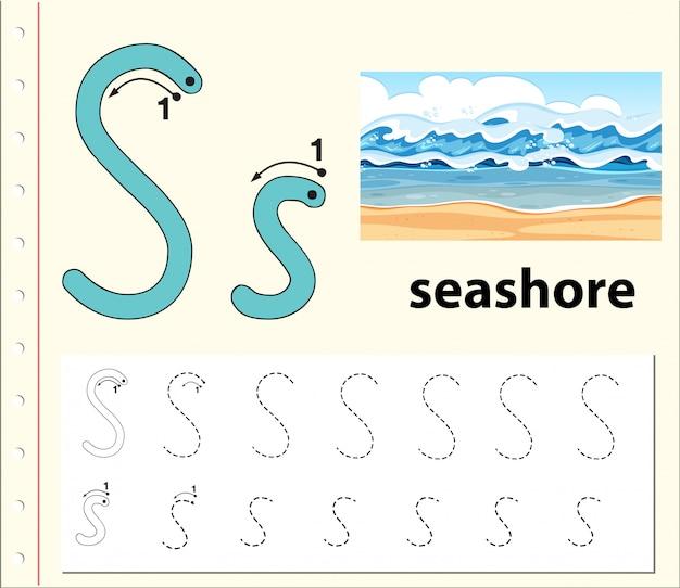 Letter s tracing alphabet worksheets