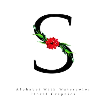 Letter s watercolor floral background