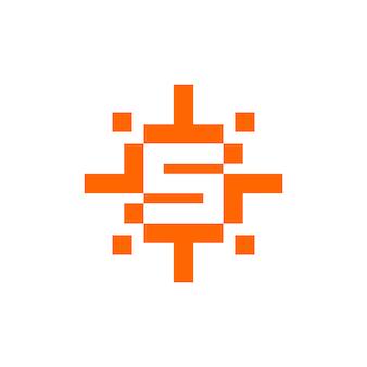 Буква s с вектором солнца в пиксельном стиле подходит для любого бизнеса, связанного с технологиями или видеоиграми.