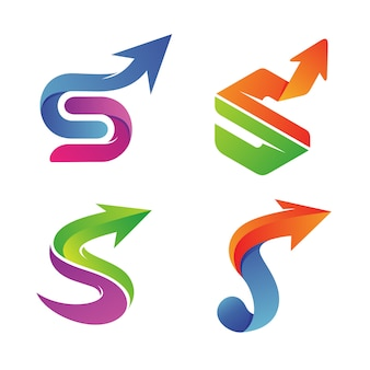 Letter s with arrow set collection logo vector