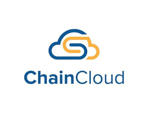 雲の空とチェーンの文字sシンプルで洗練された創造的な幾何学的なモダンなロゴデザイン
