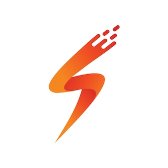 Letter s with fast thunder shape logo vector