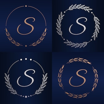 花のフレームのロゴのテンプレートと文字s