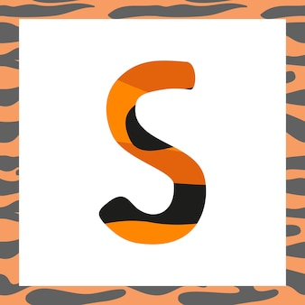Letter s with tiger pattern festive font and frame from orange with black stripes alphabet symbol fo...