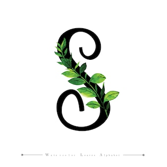 Letter S with Watercolor Leaves Background