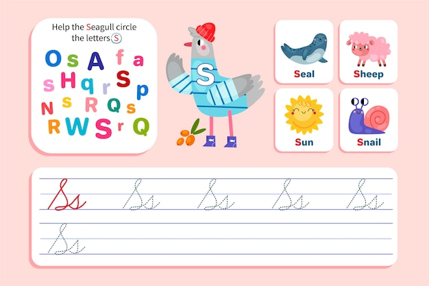 Letter s worksheet with seagull