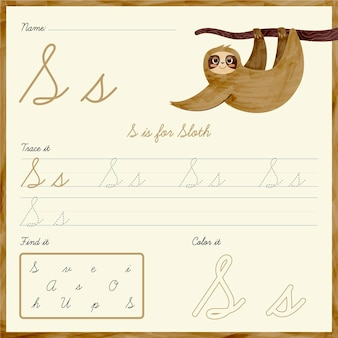 Letter s worksheet with sloth