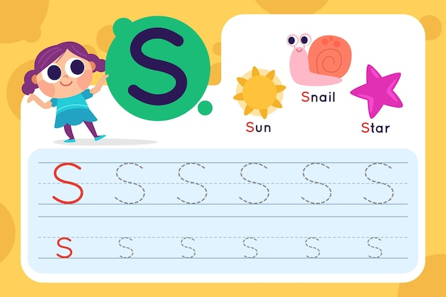 Letter s worksheet with sun and snail