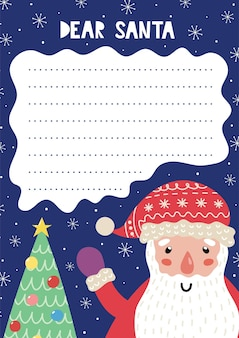 Letter to santa claus template with a funny winter character and a tree. christmas wish list a4. dear santa printable template