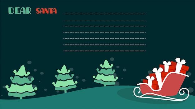 Letter to santa vector illustration template